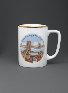 Unknown. <em>Mug</em>, 1983. Bone china, 3 7/8 x 2 7/8 in. (9.8 x 7.3 cm). Brooklyn Museum, Ella C. Woodward Memorial Fund, 83.126.5. Creative Commons-BY (Photo: Brooklyn Museum, 83.126.5_PS2.jpg)