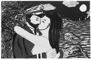 Richard Bosman (American, born India, 1944). <em>South Sea Kiss</em>, 1981. Woodcut in colors on paper, Image: 15 1/8 x 23 7/16 in. (38.4 x 59.6 cm). Brooklyn Museum, Gift of Alex Katz, 83.131.2. © artist or artist's estate (Photo: Brooklyn Museum, 83.131.2_bw.jpg)