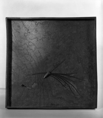 Shibata Zeshin (Japanese, 1807-1891). <em>Tray</em>, 19th century. Burlwood with black lacquer, 1 1/8 x 9 5/8 x 9 5/8 in. (2.9 x 24.4 x 24.4 cm). Brooklyn Museum, Gift of Laura Bellino, 83.162. Creative Commons-BY (Photo: Brooklyn Museum, 83.162_bw.jpg)