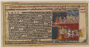 Indian. <em>Double-Sided Folio from a Bhagavata Purana Series</em>, ca. 1610-1650. Opaque watercolor on paper, sheet: 8 x 15 1/8 in.  (20.3 x 38.4 cm). Brooklyn Museum, Gift of Dr. and Mrs. Richard Dickes, 83.164.2 (Photo: Brooklyn Museum, 83.164.2_recto_IMLS_PS4.jpg)