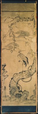 <em>Crane and Pine</em>, late 19th-early 20th century. Ink and light color on paper, Overall: 51 3/8 x 16 15/16 in. (130.5 x 43 cm). Brooklyn Museum, Gift of Dr. and Mrs. John P. Lyden, 83.168.10 (Photo: Brooklyn Museum, 83.168.10.jpg)