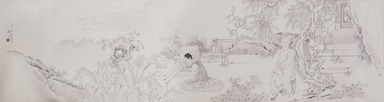 Ren Xun. <em>A Scholar and His Wife in Their Garden</em>, 19th century. Handscroll; ink on paper, image: 13 1/8 × 51 1/8 in. (33.3 × 129.9 cm). Brooklyn Museum, Gift of Dr. and Mrs. John P. Lyden, 83.168.13 (Photo: , 83.168.13_PS9.jpg)