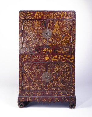 <em>Stacked Chests</em>, early 20th century. Lacquer inlaid with tortoise shell on wood, 49 3/8 x 29 1/2 x 14 1/2 in. (125.4 x 74.9 x 36.8 cm). Brooklyn Museum, Gift of Dr. and Mrs. John P. Lyden, 83.168.1a-b. Creative Commons-BY (Photo: Brooklyn Museum, 83.168.1a-b_SL1.jpg)