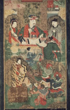 <em>Ten Kings of the Underworld</em>, 19th century. Ink and color on silk, 28 3/8 x 15 3/8 in. (72 x 39 cm). Brooklyn Museum, Gift of Dr. and Mrs. John P. Lyden, 83.168.5 (Photo: Brooklyn Museum, 83.168.5.jpg)