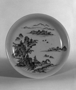 <em>Dish</em>, 18th century. Porcelain with cobalt blue underglaze, 1 3/8 x 6 1/4 in. (3.5 x 15.9 cm). Brooklyn Museum, Gift of John M. Lyden, 83.169.18. Creative Commons-BY (Photo: Brooklyn Museum, 83.169.18_bw.jpg)