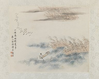 <em>Fisherman and Reeds, Album-Leaf Painting</em>, 19th century. Ink and light color on paper, Exclusive mounting: 8 3/8 x 10 1/4 in. (21.3 x 26 cm). Brooklyn Museum, Gift of Dr. Ellen Pan, 83.170.3 (Photo: Brooklyn Museum, 83.170.3_IMLS_PS3.jpg)