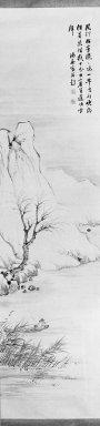 Nukina Kaioku (Japanese, 1778-1863). <em>Winter Landscape, One of Pair</em>, 19th century. Hanging scroll, ink on paper, Image: 49 x 12 1/4 in. (124.5 x 31.1 cm). Brooklyn Museum, Gift of Dr. Kenneth Rosenbaum, 83.171.18 (Photo: Brooklyn Museum, 83.171.18_bw_IMLS.jpg)