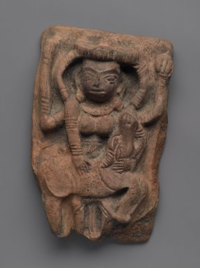 <em>Durga Destroying the Buffalo Demon</em>, 2nd century. Terracotta, 6 3/4 x 4 1/8 in. (17.1 x 10.5 cm). Brooklyn Museum, Gift of Dr. Bertram H. Schaffner, 83.172.1. Creative Commons-BY (Photo: Brooklyn Museum, 83.172.1_PS2.jpg)