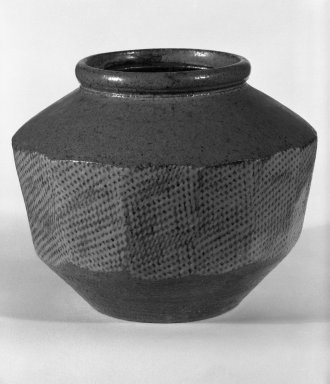 Shimaoka Tatsuzo (Japanese, 1919-2007). <em>Jar</em>, ca. 1960. Stoneware, 6 1/8 x 7 1/2 in. (15.6 x 19.1 cm). Brooklyn Museum, Gift of Mr. and Mrs. Richard Sneider, 83.173.6. Creative Commons-BY (Photo: Brooklyn Museum, 83.173.6_bw.jpg)