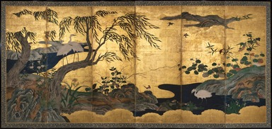 Attributed to Kano Shôei (Japanese, 1519-1592). <em>Birds and Flowers</em>, late 16th century. Ink, color, gold leaf and gold fleck on paper, folded: 69 x 25 1/2 in. (175.3 x 64.8 cm). Brooklyn Museum, Gift of Dr. and Mrs. John Fleming, 83.183.1. Creative Commons-BY (Photo: , 83.183.1_PS11.jpg)