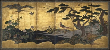 Attributed to Kano Shôei (Japanese, 1519-1592). <em>Birds and Flowers</em>, late 16th century. Ink, color, gold leaf and gold fleck on paper, Overall (unfolded): 68 3/4 × 147 11/16 in. (174.6 × 375.2 cm). Brooklyn Museum, Gift of Dr. and Mrs. John Fleming, 83.183.2. Creative Commons-BY (Photo: , 83.183.2_PS11.jpg)