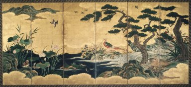 Attributed to Kano Shôei (Japanese, 1519-1592). <em>Birds and Flowers</em>, late 16th century. Ink, color, gold leaf and gold fleck on paper, (folded): 69 x 25 1/2 in. (175.3 x 64.8 cm). Brooklyn Museum, Gift of Dr. and Mrs. John Fleming, 83.183.2. Creative Commons-BY (Photo: Brooklyn Museum, 83.183.2_right.jpg)