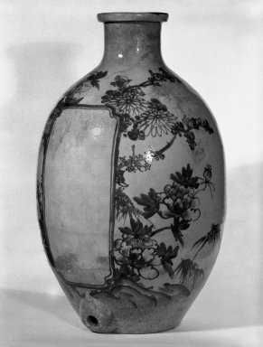 <em>Wine Urn</em>, 19th century. Stoneware, Shigaraki ware, Other: 19 1/4 x 11 in. (48.9 x 27.9 cm). Brooklyn Museum, Gift of Mr. and Mrs. David Goldschild, 83.184.1. Creative Commons-BY (Photo: Brooklyn Museum, 83.184.1_bw.jpg)