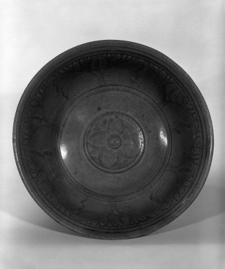 <em>Sawankhalok Celadon Bowl</em>, 15th-16th century. Stoneware with gray-green celadon glaze Brooklyn Museum, Gift of Dr. and Mrs. Jerome Krieger, 83.187.2. Creative Commons-BY (Photo: Brooklyn Museum, 83.187.2_bw.jpg)