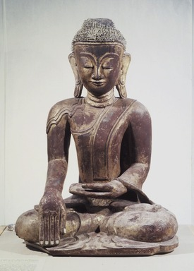 <em>Buddha</em>, 17th-18th century. Lacquer and gilt, 25 1/2 x 17 1/2 x 13 1/2 in. (64.8 x 44.5 x 34.3 cm). Brooklyn Museum, Gift of Dr. and Mrs. George Liberman, 83.188. Creative Commons-BY (Photo: Brooklyn Museum, 83.188_transp4210.jpg)