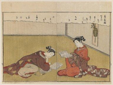 Suzuki Harunobu (Japanese, 1724-1770). <em>Page From Haru no Nishiki</em>, 1771. Color woodblock print on paper, 8 1/8 x 10 3/4 in. (20.6 x 27.3 cm). Brooklyn Museum, Gift of Peter P. Pessutti, 83.190.1 (Photo: Brooklyn Museum, 83.190.1_IMLS_PS3.jpg)