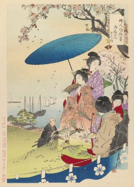 Ogata Gekko (Japanese, 1859-1920). <em>Cherry Blossoms at Goten-yama, from the series An Assortment of Women's Customs</em>, 1891. Color woodblock print on paper, 14 1/2 x 10 in. (36.8 x 25.4 cm). Brooklyn Museum, Gift of Peter P. Pessutti, 83.190.4 (Photo: Brooklyn Museum, 83.190.4_IMLS_PS3.jpg)