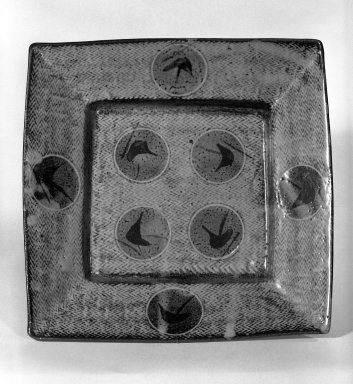 Shimaoka Tatsuzo (Japanese, 1919-2007). <em>Tea-Ceremony Cake Plate</em>, ca. 1970. Stoneware, 2 3/8 x 11 in. (6 x 27.9 cm). Brooklyn Museum, Gift of Mr. and Mrs. James Rose, 83.194. Creative Commons-BY (Photo: Brooklyn Museum, 83.194_bw.jpg)