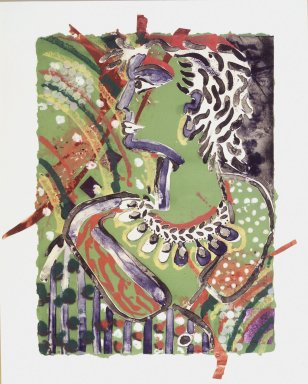 Robert Kushner (American, born 1949). <em>Rhoda VIII 3</em>, 1982. Lithographcollage with fabric and sequins, 38 1/2 x 27 3/4 in. (97.8 x 70.5 cm). Brooklyn Museum, Frank L. Babbott Fund, 83.225. © artist or artist's estate (Photo: Brooklyn Museum, 83.225_transpc005.jpg)