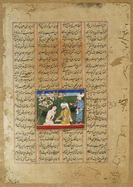 Indian. <em>Majnun and his Uncle Salim, Page from a Khamsa of Nizami</em>, ca. 1500. Opaque watercolor and ink on paper, sheet: 9 5/8 x 6 11/16 in.  (24.4 x 17.0 cm). Brooklyn Museum, Gift of Mr. and Mrs. J. Gordon Douglas III, 83.234.3 (Photo: Brooklyn Museum, 83.234.3_IMLS_SL2.jpg)