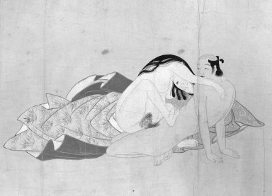 <em>Shunga (Erotic Pictures)</em>, 17th century. Handscroll, ink and color on paper, Image: 11 1/4 x 113 3/4 in. (28.6 x 288.9 cm). Brooklyn Museum, Gift of Dr. Fred S. Hurst, 83.235.2 (Photo: Brooklyn Museum, 83.235.2_detail1_bw_IMLS.jpg)