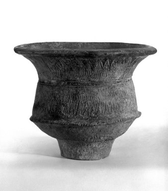 <em>Jar</em>, ca. 4000 B.C.E. Ceramic, Ban Chieng pottery, H: 6 5/8 (16.8 cm) . Brooklyn Museum, Gift of Dr. Malcolm Idelson, 83.237.2. Creative Commons-BY (Photo: Brooklyn Museum, 83.237.2_view1_bw.jpg)
