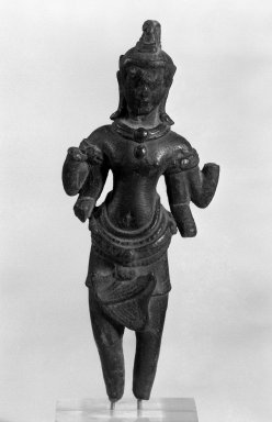 <em>Four-Armed Avalokiteshvara</em>, 12th-13th century. Bronze, 6 x 2 1/2 in. (15.2 x 6.4 cm). Brooklyn Museum, Gift of Dr. Malcolm Idelson, 83.237.3. Creative Commons-BY (Photo: Brooklyn Museum, 83.237.3_bw.jpg)
