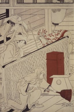 Kitagawa Utamaro (Japanese, 1753-1806). <em>Yoshiwara in New Year</em>, ca. 1798. Woodblock print, a: 14 3/4 x 9 3/4 in. (37.2 x 24.2 cm). Brooklyn Museum, Gift of Herbert Libertson, 83.240a-c (Photo: Brooklyn Museum, 83.240a.jpg)
