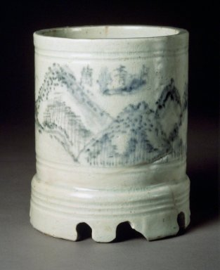 <em>Brush Holder</em>, early 20th century. Porcelain with cobalt blue underglaze decoration, Height: 6 5/16 in. (16 cm). Brooklyn Museum, Gift of Dr. and Mrs. John P. Lyden, 83.241.4. Creative Commons-BY (Photo: Brooklyn Museum, 83.241.4.jpg)