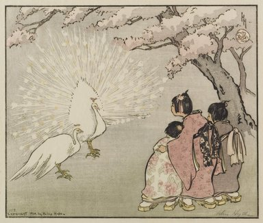 Helen Hyde (American, 1868-1919). <em>White Peacock</em>, 1914. Color woodcut on cream, thin, slightly textured laid paper, Other (Folder): 14 1/4 x 19 5/8 in. (36.2 x 49.9 cm). Brooklyn Museum, Gift of Mr. and Mrs. Peter P. Pessutti, 83.244.3 (Photo: Brooklyn Museum, 83.244.3_PS1.jpg)
