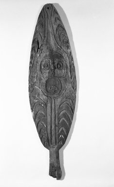 <em>Spirit Board (Gope)</em>. Wood, pigment, 46 1/2 x 12 3/4 in. (118.1 x 32.4 cm). Brooklyn Museum, Gift of Marcia and John Friede and Mrs. Melville W. Hall, 83.246.5. Creative Commons-BY (Photo: Brooklyn Museum, 83.246.5_bw.jpg)
