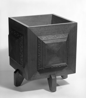 Minic Custom Woodwork and Interiors. <em>Planter</em>, Designed 1953, Manufactured 1954. Mahogany, 15 1/2 x 12 1/8 x 12 1/8 in. (39.4 x 30.8 x 30.8 cm). Brooklyn Museum, Gift of Minic Custom Woodwork & Interiors, 83.25.1. Creative Commons-BY (Photo: Brooklyn Museum, 83.25.1_bw.jpg)
