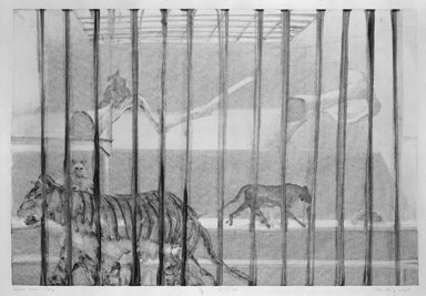 Michael Mazur (American, 1935-2009). <em>Cage-Bronx Zoo</em>, February 14, 1974. Monotype-cognate impression, Sheet: 23 3/4 x 31 1/2 in. (60.3 x 80 cm). Brooklyn Museum, Gift of Mary Frank, 83.259.4. © artist or artist's estate (Photo: Brooklyn Museum, 83.259.4_bw.jpg)