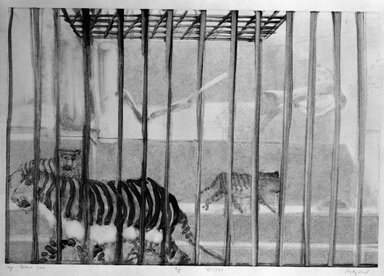 Michael Mazur (American, 1935-2009). <em>Cage-Bronx Zoo</em>, February 14, 1974. Monotype-cognate impression on paper, sheet: 23 3/4 x 31 1/2 in. (60.3 x 80 cm). Brooklyn Museum, Gift of Mary Frank, 83.259.5. © artist or artist's estate (Photo: Brooklyn Museum, 83.259.5_bw.jpg)