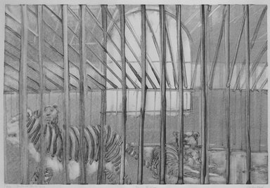 Michael Mazur (American, 1935-2009). <em>Cage-Central Park Zoo</em>, February 14, 1974. Monotype-cognate impression on paper, sheet: 23 3/4 x 31 1/2 in. (60.3 x 80 cm). Brooklyn Museum, Gift of Mary Frank, 83.259.7. © artist or artist's estate (Photo: Brooklyn Museum, 83.259.7_bw.jpg)