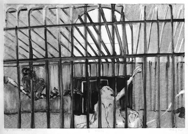 Michael Mazur (American, 1935-2009). <em>Cage-Central Park Zoo</em>, February 14, 1974. Monotype-cognate impression on paper, sheet: 23 3/4 x 31 1/2 in. (60.3 x 80 cm). Brooklyn Museum, Gift of Mary Frank, 83.259.9. © artist or artist's estate (Photo: Brooklyn Museum, 83.259.9_bw.jpg)