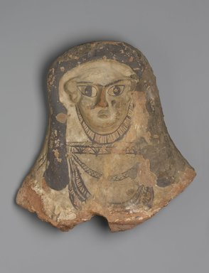 <em>Head and Chest From a Sarcophagus</em>, 4th century C.E. Terracotta, pigment, 17 1/2 x 17 1/2 x 4 1/2 in. (44.5 x 44.5 x 11.4 cm). Brooklyn Museum, Charles Edwin Wilbour Fund, 83.29. Creative Commons-BY (Photo: Brooklyn Museum, 83.29_PS1.jpg)