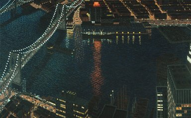 Yvonne Jacquette (American, born 1934). <em>East River View with Brooklyn Bridge</em>, 1983. Oil on canvas, 96 x 128 in. (243.8 x 325.1 cm). Brooklyn Museum, Purchased with funds given by the Landowne-Bloom Foundation in memory of Louis Landowne and Dick S. Ramsay Fund, 83.84. © artist or artist's estate (Photo: Brooklyn Museum, 83.84_SL1.jpg)