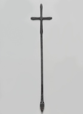 Amhara artist. <em>Hand Cross (mäsqäl)</em>, 16th century?. Iron, 13 7/8 x 2 3/4 in. (35.1 x 7 cm). Brooklyn Museum, Gift of George V. Corinaldi, Jr., 84.108.1. Creative Commons-BY (Photo: , 84.108.1_PS9.jpg)