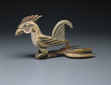 <em>Dance Ornament</em>, 19th century. Wood, turban snail (Turbo petholatus) opercula, pigment, 7 1/4 x 6 1/4 x 12 3/4 in. (18.4 x 15.9 x 32.4 cm). Brooklyn Museum, Helen Babbott Sanders Fund, 84.109. Creative Commons-BY (Photo: Brooklyn Museum, 84.109_SL1.jpg)