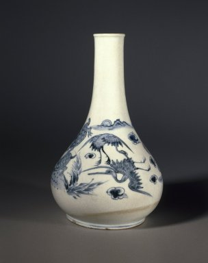 <em>Bottle</em>, last half of 19th century. Porcelain with underglaze cobalt decoration, Height: 11 9/16 in. (29.3 cm). Brooklyn Museum, Purchased with funds given by Mr. and Mrs. Milton F. Rosenthal and Stanley Herzman, 84.10. Creative Commons-BY (Photo: Brooklyn Museum, 84.10_SL1.jpg)