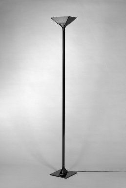 "Tobia Scarpa (Italian). <em>""Papillona"" Floor Lamp</em>, design 1977, manufactured 1983-1984. Die-cast aluminum, plastic, and glass, 75 1/2 x 9 3/4 x 9 3/4 in. (191.8 x 24.8 x 24.8 cm). Brooklyn Museum, Gift of Atelier International, Ltd., 84.119. Creative Commons-BY (Photo: Brooklyn Museum, 84.119_bw.jpg)"
