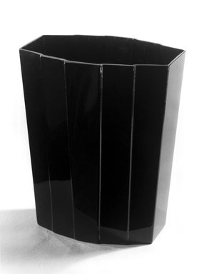 George Sakier (American, 1897-1988). <em>Vase</em>, ca. 1930. Black glass, 8 1/8 x 6 3/4 x 4 1/16 in. (20.6 x 17.1 x 10.3 cm). Brooklyn Museum, Gift of Paul F. Walter, 84.124.1. Creative Commons-BY (Photo: Brooklyn Museum, 84.124.1_print_bw_SL1.jpg)
