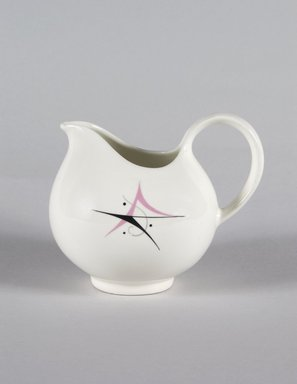 Eva Zeisel (American, born Hungary, 1906-2011). <em>Cream Pitcher, Part of 19-Piece Dinner Service, Hallcraft Pattern</em>, ca. 1952. Glazed earthenware, 4 3/8 x 5 1/2 x 4 in. (11.1 x 14.0 x 10.1 cm). Brooklyn Museum, Gift of Paul F. Walter, 84.124.37. Creative Commons-BY (Photo: Brooklyn Museum, 84.124.37_PS5.jpg)