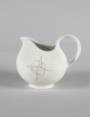 Eva Zeisel (American, born Hungary, 1906-2011). <em>Cream Pitcher, Part of 19-Piece Dinner Service, Hallcraft Pattern</em>, ca. 1952. Glazed earthenware, 4 1/4 x 5 1/4 x 4 in. (10.8 x 13.3 x 10.2 cm). Brooklyn Museum, Gift of Paul F. Walter, 84.124.38. Creative Commons-BY (Photo: Brooklyn Museum, 84.124.38_PS5.jpg)