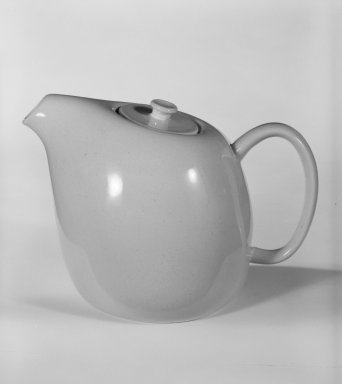 "Russel Wright (American, 1904-1976). <em>Coffee Pot with Lid, ""American Modern"" Pattern</em>, ca. 1937. Earthenware with ""Glacier blue"" glaze, 6 3/4 x 10 x 6 1/4 in. (17.1 x 25.4 x 15.9 cm). Brooklyn Museum, Gift of Paul F. Walter, 84.124.5a-b. Creative Commons-BY (Photo: Brooklyn Museum, 84.124.5a-b_bw.jpg)"