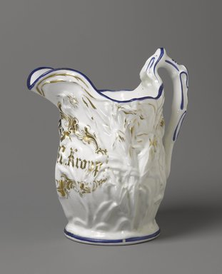 F. K. M. Kropp. <em>Pitcher</em>, 1850-1861. Porcelain, 10 1/4 x 9 1/2 x 6 1/4 in. (26 x 24.1 x 15.9 cm). Brooklyn Museum, H. Randolph Lever Fund, 84.127. Creative Commons-BY (Photo: Brooklyn Museum, 84.127_PS6.jpg)