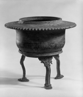 <em>Holy Water Bowl and Stand</em>, 13th-15th century. Bronze, 6 1/4 x 6 5/8 in. (15.9 x 16.8 cm). Brooklyn Museum, Gift of Dr. Andrew Dahl, 84.133.2a-b. Creative Commons-BY (Photo: Brooklyn Museum, 84.133.2a-b_bw.jpg)