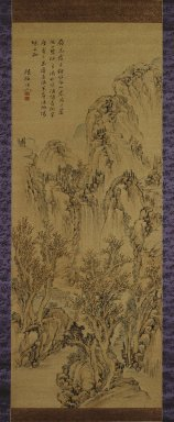 Noro Kaiseki (Japanese, 1747-1828). <em>Landscape</em>, early 19th century. Hanging scroll, ink and light color on silk, Image: 50 x 19 1/2 in. (127 x 49.5 cm). Brooklyn Museum, Gift of Dr. and Mrs. Richard Dickes, 84.134.1 (Photo: Brooklyn Museum, 84.134.1_IMLS_SL2.jpg)
