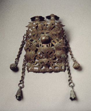 <em>Open-Worked Ornaments</em>, 13th-14th century. Iron, silver wire, a: 3 7/16 x 2 5/16 in. (8.7 x 5.8 cm). Brooklyn Museum, Gift of Mr. and Mrs. Donald Farm, 84.135.3a-b. Creative Commons-BY (Photo: Brooklyn Museum, 84.135.3a.jpg)